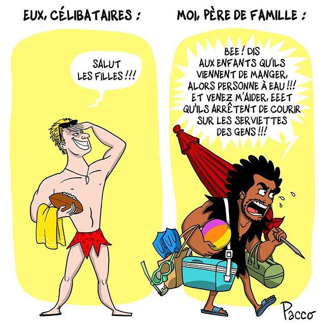 Marié 3 enfants / Tag quelqu'un que ça fera sourire #lesraspberry #comics #paccodc #plage #famille #enfants #marié #celibataire